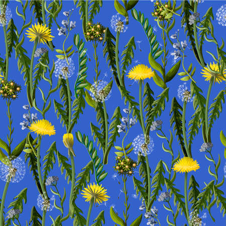 Seamless pattern with dandelion and wild flowers.