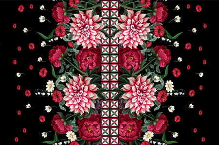 Seamless pattern with dahlia, peonies, wild flowers and geometrical elements. Vector.
