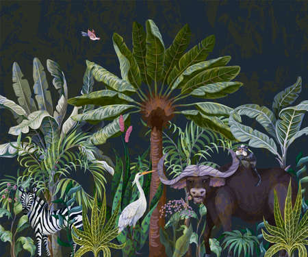 Border with bull and other animals in jungle. Vector. Archivio Fotografico