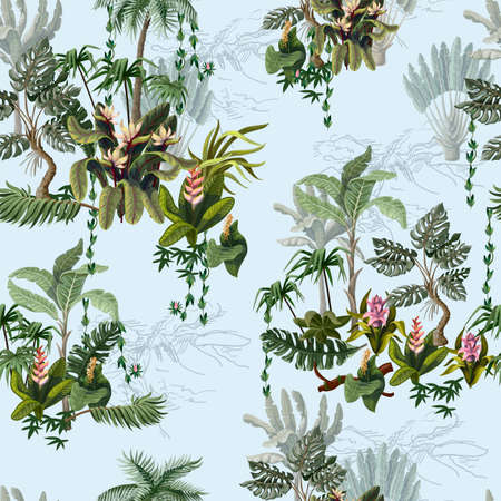 Seamless pattern with jungle trees and flowers. Vector. Archivio Fotografico
