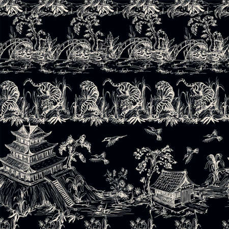 Seamless pattern in chinoiserie style for fabric or interior design. Archivio Fotografico