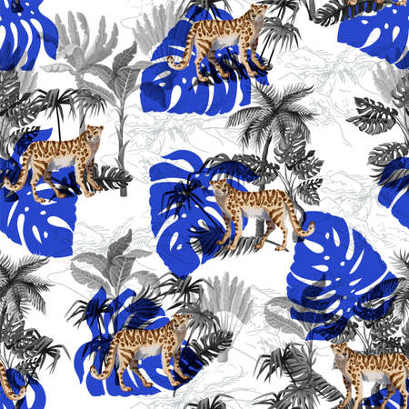 Seamless pattern with leopard and tropical landscape. Vector. Archivio Fotografico