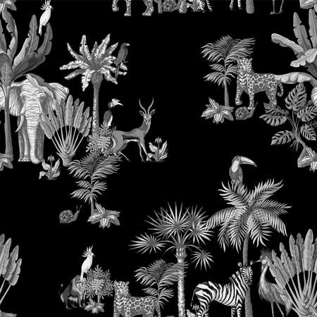 Seamless pattern with tropical trees and animals in graphic style black and white. Vector. Archivio Fotografico