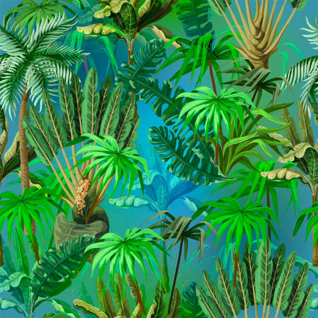 Vivid seamless pattern with jungle trees. Vector.