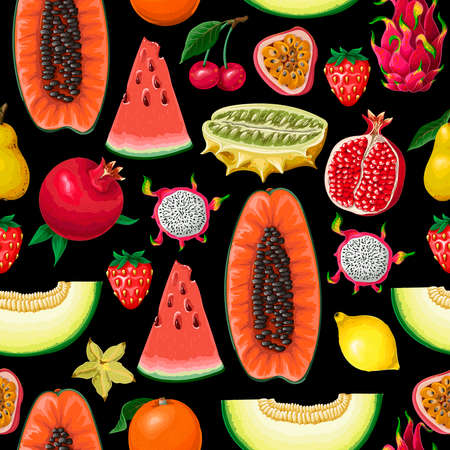 Seamless pattern with exotic fruits. Trendy print.