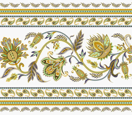 Seamless border with ethnic ornament elements and paisleys. Folk flowers and leaves for print or embroidery.