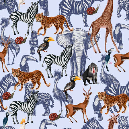 Seamless pattern with tropical animals in graphic style. Vector.