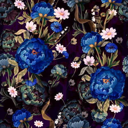 Seamless pattern with vintage peonies oil painting. Vector.
