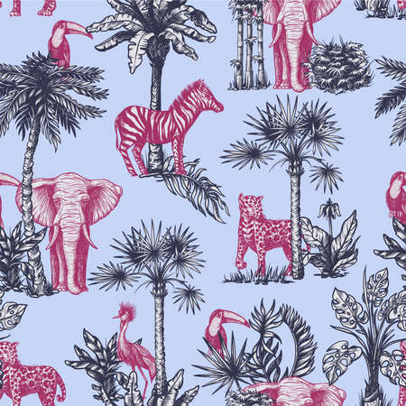 Seamless pattern with graphic tropical treees and jungle animals. Vector. Archivio Fotografico