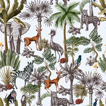 Seamless pattern with tropical trees and animals in graphic style. Vector.