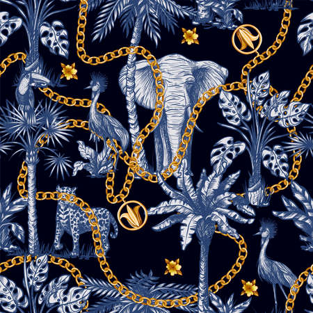 Seamless pattern with graphic tropical treees and jungle animals and gold chains. Vector. Archivio Fotografico