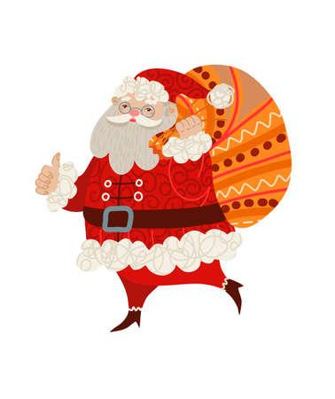 Santa Claus isolated. Vector cartoon flat illustration.