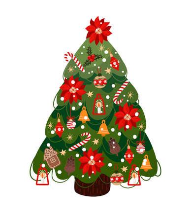Decorated Christmas tree isolated . Vector cartoon flat illustration.