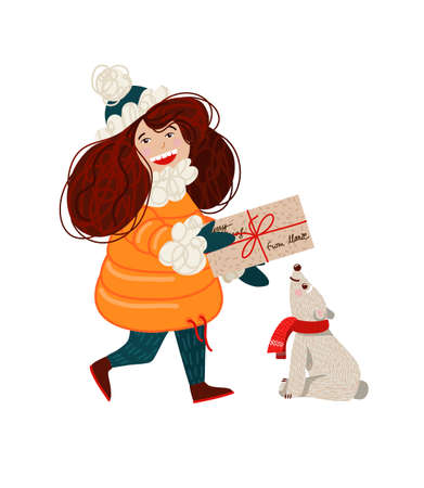 The girl carries a letter to Santa Claus. Vector cartoon illustration