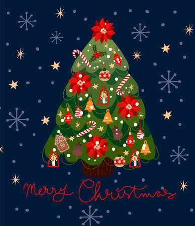 Greeting card with a decorated Christmas tree. Vector cartoon flat illustration.