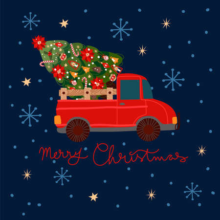 Christmas card with a red pickup truck with a Christmas tree in the back. 矢量图像