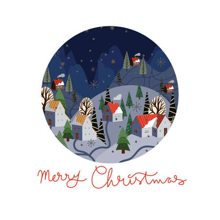 Round Christmas-themed plate design. Vector cartoon flat illustration.