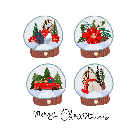 Set of glass balls with snow and Christmas decor. Vector cartoon flat illustration. Stock Illustratie