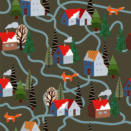Seamless pattern with winter mountain landscape and small houses. Vector.