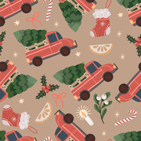 Seanless pattern with red pickup truck with a Christmas tree in the back. Vector cartoon flat illustration.