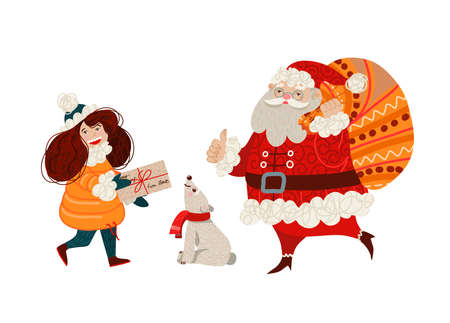 The girl carries a letter to Santa Claus. Vector cartoon illustration.