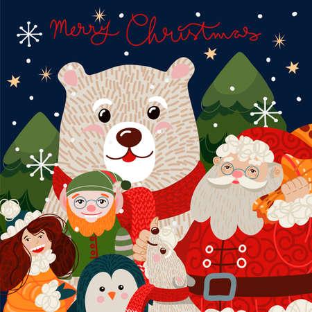 Christmas card with cute polar bear in a red scarf. Vector cartoon flat illustration.