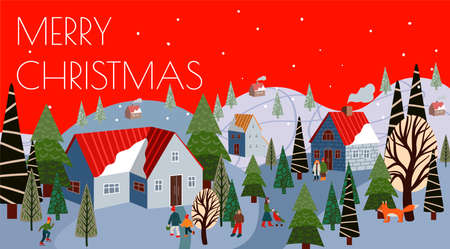 Christmas greeting card with winter mountain landscape and houses. Cartoon flat illustration. 矢量图像