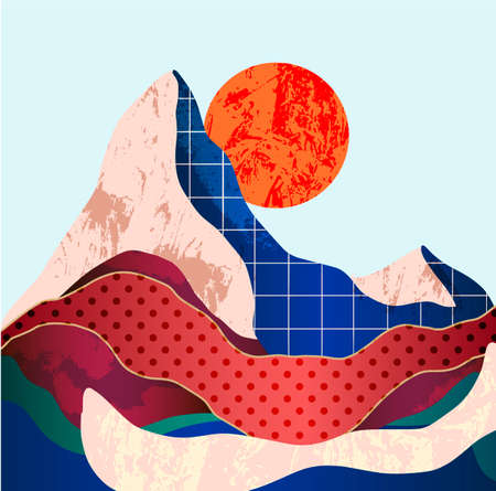 Mountain landscape with different textures. Vector.
