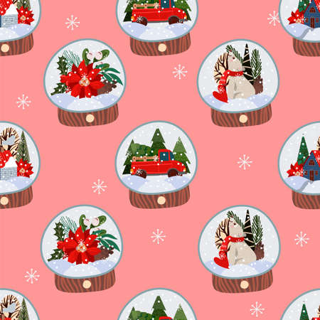 Seamless pattern with glass balls with snow and Christmas decor. Vector cartoon flat illustration Stock Illustratie