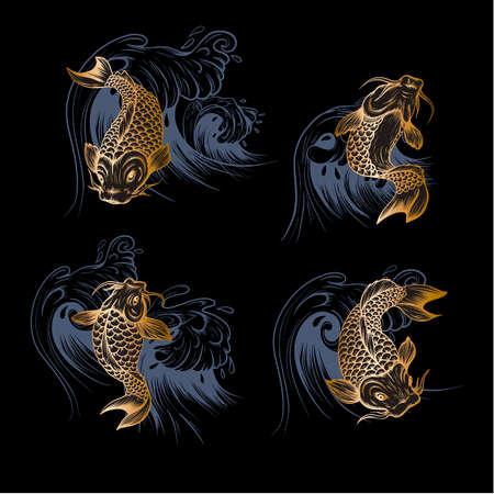 Golden fish koi. Japanese vintage print. 矢量图像