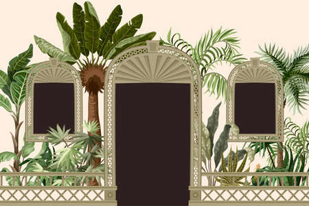Border with tropical trees and door openings in a garden style. Trendy interior print