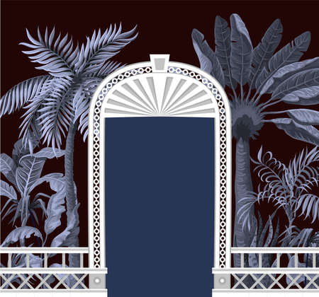 Border with tropical trees and door openings in a garden style. Trendy interior print.