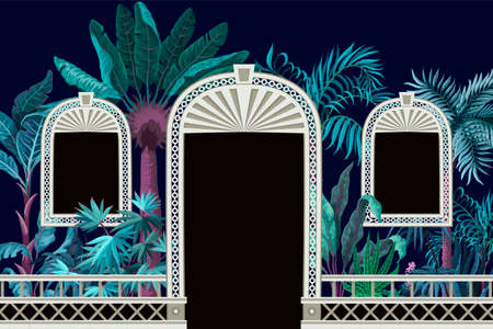 Pattern with tropical trees and door openings in a garden style