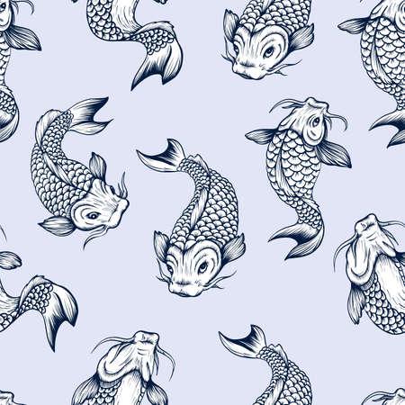 Seamless pattern with fish koi. Japanese vintage print. 矢量图像