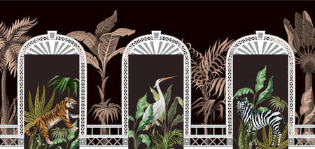 Border with tropical trees, animals and door openings in a garden style. Trendy interior print