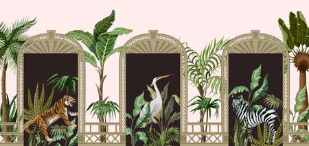 Border with tropical trees, animals and door openings in a garden style. Trendy interior print.