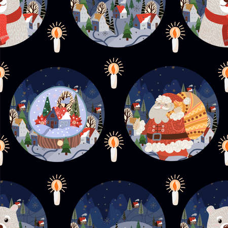 Seamless pattern with round Christmas-themed plate design. Vector cartoon flat illustration