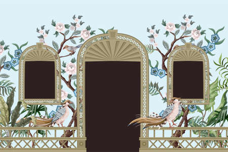 Border with peonyl trees, bird and door openings in chinoiserie style. Trendy interior print