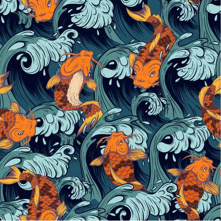 Seamless pattern with fish koi. Japanese vintage print