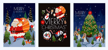 Set of Christmas cards with simple cute illustrations of Santa Claus and holiday decor. Vector.