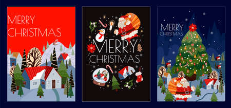 Set of Christmas cards with simple cute illustrations of polar bear, Santa Claus and holiday decor. Vector. 矢量图像