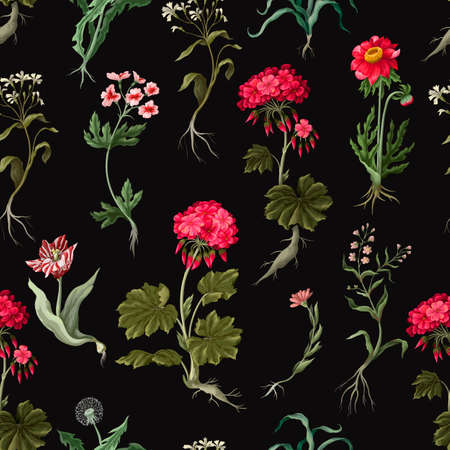 Seamless pattern with geraniums and wild flowers. Trendy floral vector print.