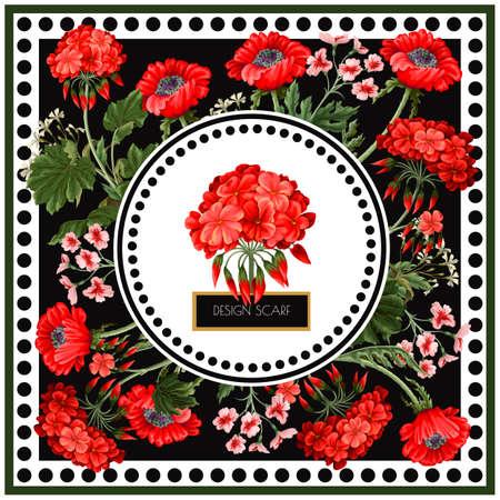 Design scarf with geraniums and wild flowers. Trendy floral vector print Vektorgrafik