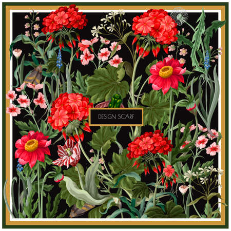 Design scarf with geraniums and wild flowers. Trendy floral vector print.