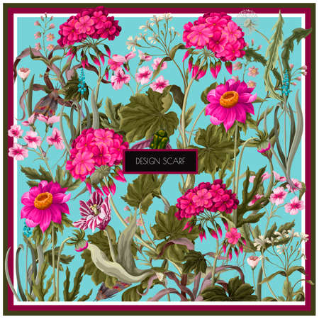Design scarf with geraniums and wild flowers. Trendy floral vector print