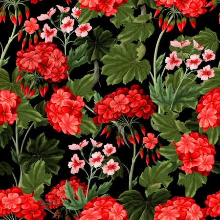 Seamless pattern with geraniums and wild flowers. Trendy floral vector print. Vektorgrafik