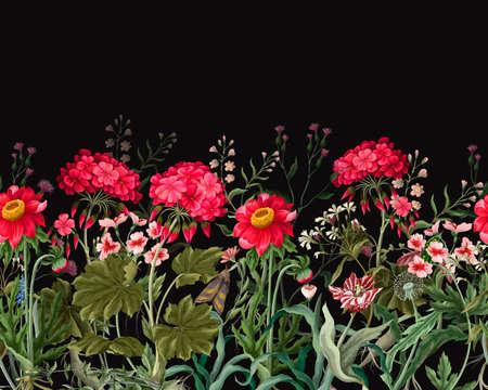 Border with geraniums and wild flowers. Trendy floral vector print. Vektorgrafik