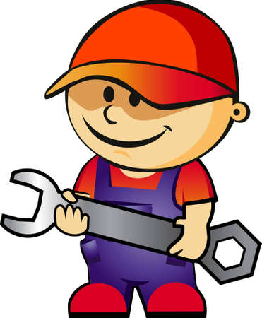 craftsmen repair: technic boy with screwdriver Illustration