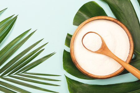 Collagen powder in bowl and measure spoon on palm leaf background. Extra protein intake. Natural beauty and health supplement. Minimal concept. Plant based collagen. Flatlay, top view. Copy space.