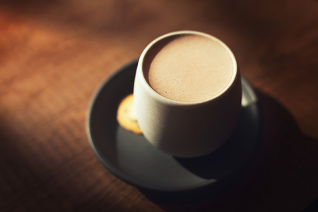 Hot cocoa or chocolate cup with a cookie on wooden background. Moody toning. Soft focus. Copy space for your text. Stok Fotoğraf - 123439962